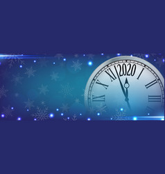 2020 happy new year with retro clock on vector image