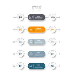 5 step process work flow infographic template vector