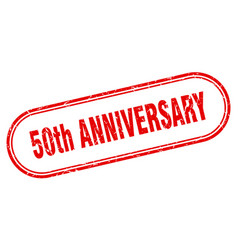 50th anniversary stamp rounded grunge textured vector