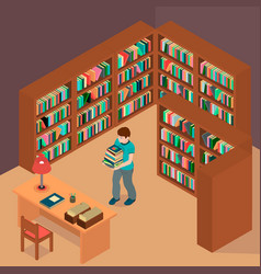 A boy chose books and waits for the librarian vector