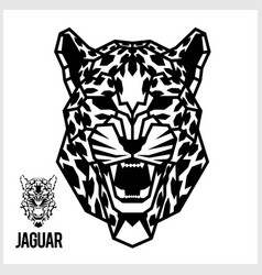 abstract linear polygonal head a jaguar vector image