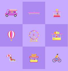 amusement park set icons vector image