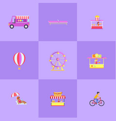 amusement park set of icons vector image