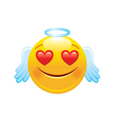Angel with hearts emoji icon 3d face smile vector
