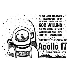 Apollo 17 print for kids vector