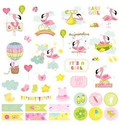 Bagirl flamingo scrapbook set vector