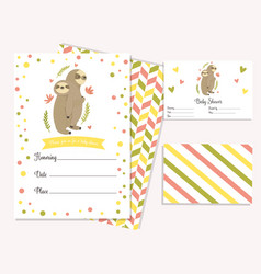 bashower invitation card with cute sloths vector image