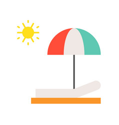 Beach chair umbrella and sun sun bath flat icon vector
