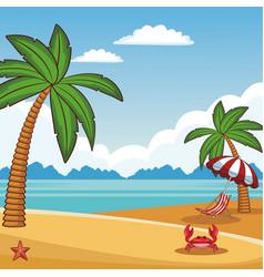 Beach scenery cartoon vector
