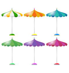beach umbrella in six different colors vector image