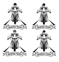 biker theme labels with motorbike and skull vector image