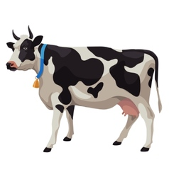 Black and white cow side view isolated vector image