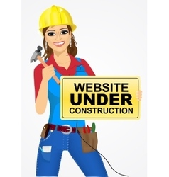 Builder woman with hammer vector