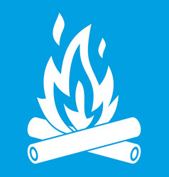 Campfire icon white vector