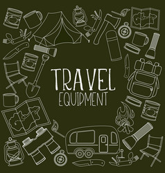 camping and tourism equipment vector image