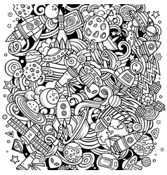 cartoon doodles space funny vector image