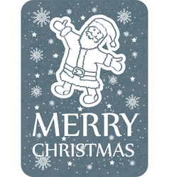 Christmas greeting card santa grey copy vector