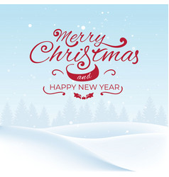 christmas landscape with snow and trees vector image