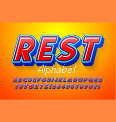 Colorful 3d display font design alphabet letters vector