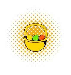 colorful easter eggs in basket icon vector image