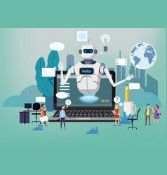 Concept online free chat bot robot virtual vector