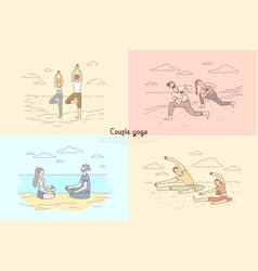 couple yoga man and woman meditation on nature vector image