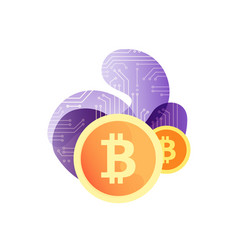 cryptocurrency concept bitcoin with bubble shapes vector image