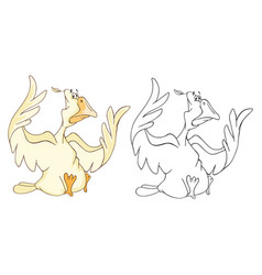 cute cockerel coloring book vector image