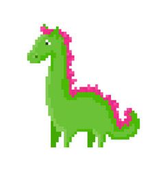 Cute green cartoon pixel dragon vector