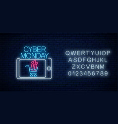 Cyber monday neon advertising banner mobile vector