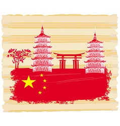 Decorative Chinese landscape card with buildings vector