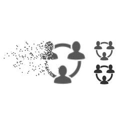 Disintegrating pixel halftone trust circle icon vector