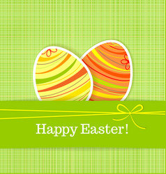 Easter eggs on green seamless linen background vector image