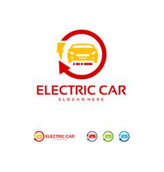 Electric car logo designs concept car technology vector