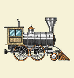 engraved vintage hand drawn old locomotive or vector image