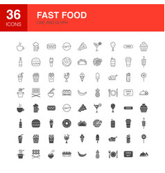 fast food line web glyph icons vector image
