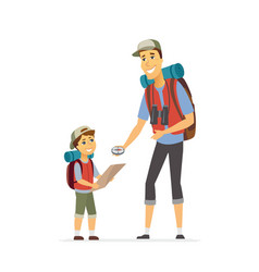 Father and son go camping - cartoon people vector
