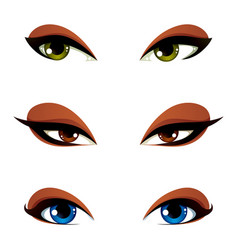 female eyes in different emotion with blue brown vector image vector image