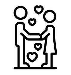First couple kiss icon outline style vector