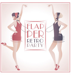 flappergirls retroparty2-03 vector image