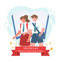 Flat indonesian national education day vector