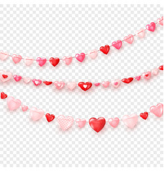 garlands hearts valentines day or wedding day vector image