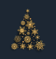 glittery snowflake christmas tree design vector image
