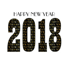 Gold black new years eve 2018 typography pattern vector