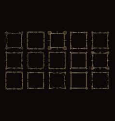 golden frames victorian geometric borders set vector image