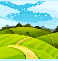 Green landscape with hills fields and clear sky vector