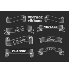 Hand drawn retro ribbon banners on vector