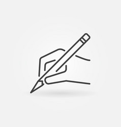 Hand with pencil icon in thin line style vector