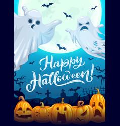 Happy halloween poster with cartoon ghosts vector