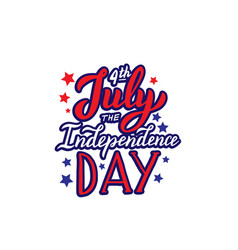 happy independence day text 4th july vector image